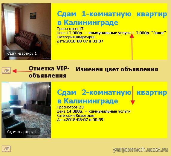 Пример реализации VIP-опций:
